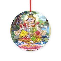 Krishna and Radha Dancing Ornament (Round)