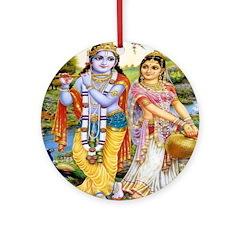 Krishna and Radha Ornament (Round)