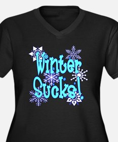 Winter Sucks! /blue Women's Plus Size V-Neck Dark