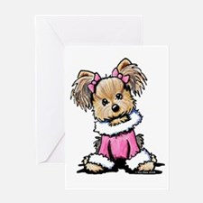 Pink Yorkie Cutie Greeting Card