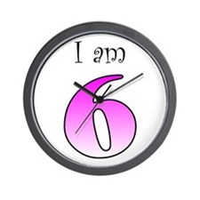 I am 6 (pink) Wall Clock