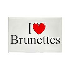 """""""I Love (Heart) Brunettes"""" Rectangle Magnet"""