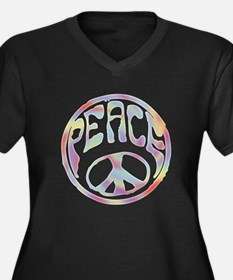 Peace Stamp II Women's Plus Size V-Neck Dark T-Shi