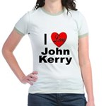 I Love John Kerry (Front) Jr. Ringer T-Shirt