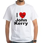 I Love John Kerry (Front) White T-Shirt