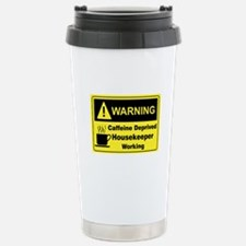 Caffeine Warning Housekeeper Travel Mug