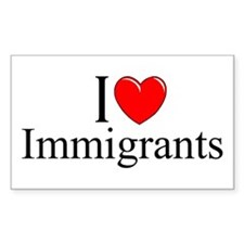 """I Love (Heart) Immigrants"" Rectangle Decal"