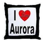 I Love Aurora Throw Pillow