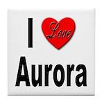 I Love Aurora Tile Coaster