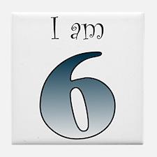 I am 6 (navy blue) Tile Coaster