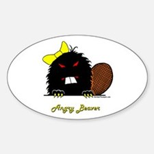 Angry Beaver Oval Decal