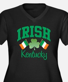 IRISH KENTUCKY Women's Plus Size V-Neck Dark T-Shi