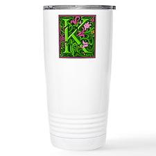Floral Initial K Travel Mug