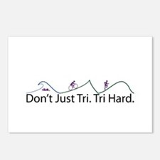 Don't Just Tri, Tri Hard (Line) Postcards (Package