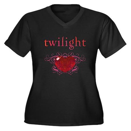 Twilight Fire Heart Women's Plus Size V-Neck Dark
