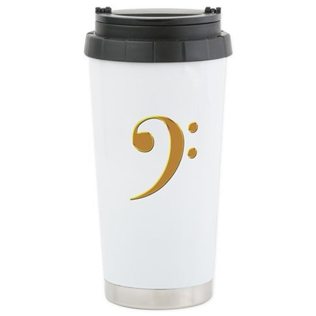 Gold Bass Clef Stainless Steel Travel Mug