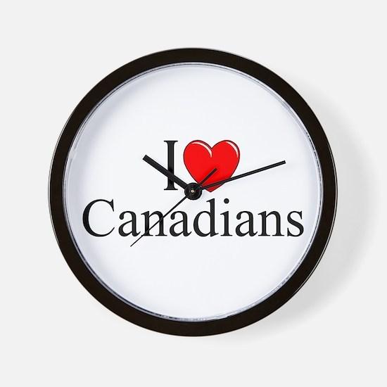 """""""I Love (Heart) Canadians"""" Wall Clock"""