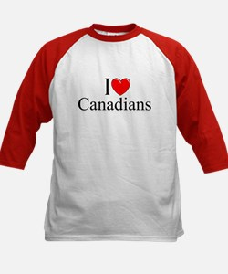 """I Love (Heart) Canadians"" Kids Baseball Jersey"