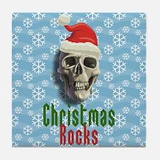 Christmas Rocks Skull Tile Coaster