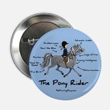 "Pony Rider Equestrian 2.25"" Button"