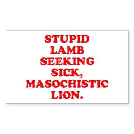 Lamb Seeks Lion Rectangle Sticker