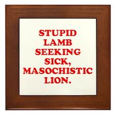 Lamb Seeks Lion Framed Tile