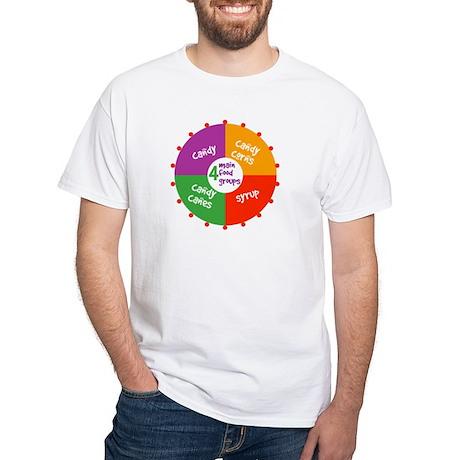 4 Main Food Groups for Elves White T-Shirt