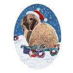 Bunny Winter Holiday Oval Ornament