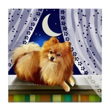 POMERANIAN DOG MOON WINDOW Tile Coaster