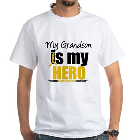 ChildhoodCancer Grandson White T-Shirt