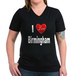 I Love Birmingham (Front) Women's V-Neck Dark T-Sh