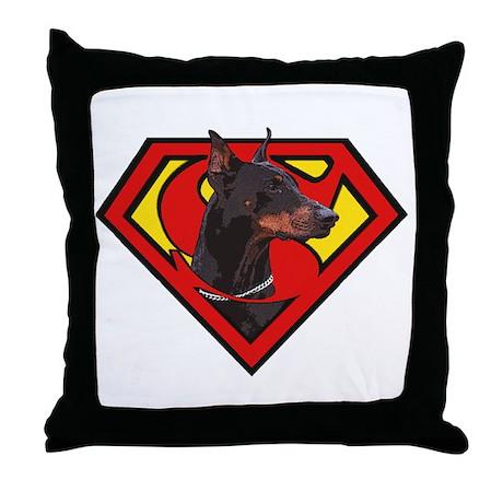 Super DoberMan Throw Pillow