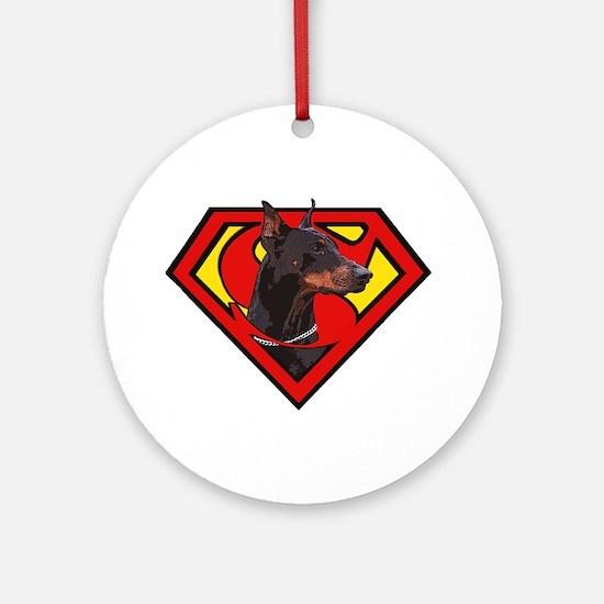 Super DoberMan Ornament (Round)