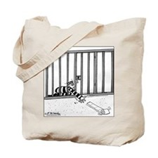 Toilet Paper Rolling Away in Prison Tote Bag