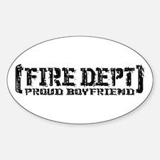 Proud Boyfriend Tattered Fire Dept Oval Decal