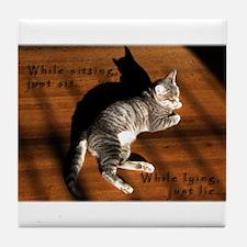 Sit or Lie Tabby Kitten Tile Coaster