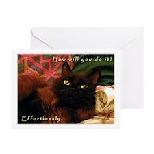 Effortless Black Kitty Greeting Cards (Package of