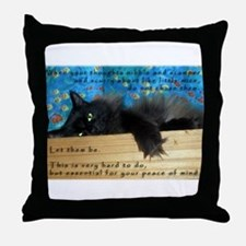 Nibbling Thoughts Black Cat Throw Pillow