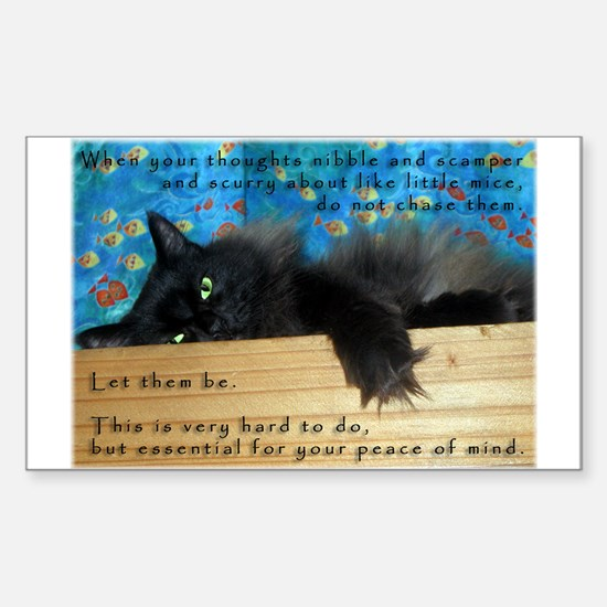 Nibbling Thoughts Black Cat Rectangle Decal