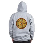 Lughnasadh Celtic Spiral Zip Up Hoodie Front/ Back