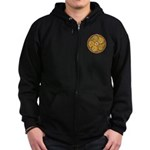 Lughnasadh Celtic Spiral Art Black Zip Up Hoodie