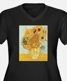 Van Gogh Sunflowers Women's Plus Size V-Neck Dark