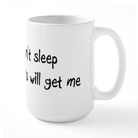 Can't sleep pigeons will get me Large Mug
