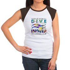Colorful Dive Indeep Logo Women's Cap Sleeve T-Shi