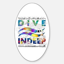 Colorful Dive Indeep Logo Oval Decal