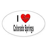 I Love Colorado Springs Oval Sticker (10 pk)