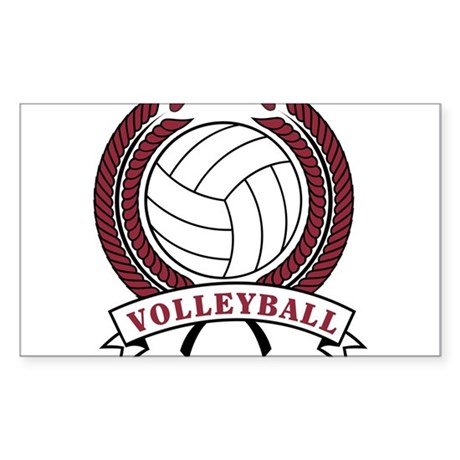 Volleyball Red Trophy Rectangle Sticker 10 pk)