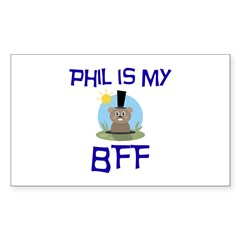 Phil BFF Groundhog Day Rectangle Decal