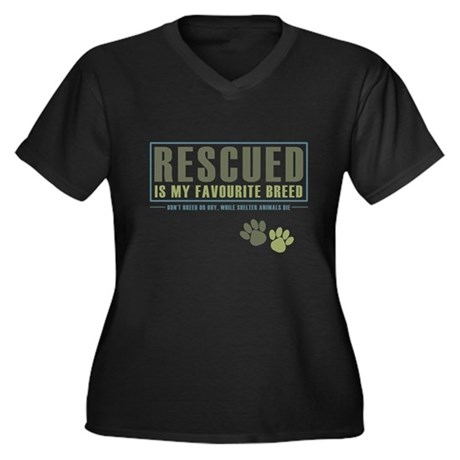 Rescued is my Favourite Breed Women's Plus Size V-