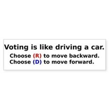 Voting Is Like Driving A Car Bumper Car Sticker